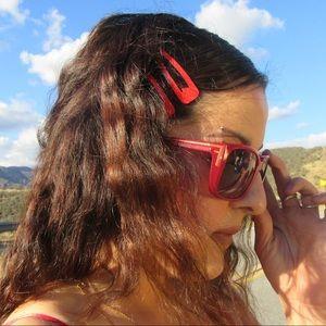 FENDI RED F SUNGLASSES SHADES SQUARE SHAPE SUNNIES